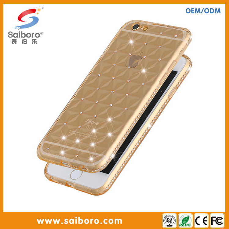 Hot sale Anti-scratch tpu mobile covers 3D cell phone case with diamond for apple iphone6/6S