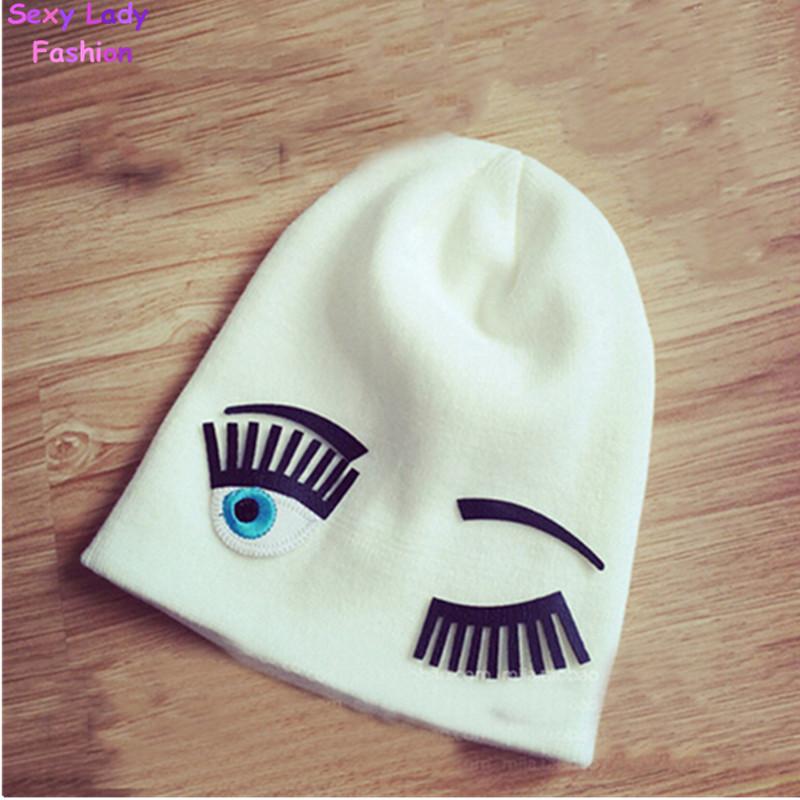 Spliced Eyelash Embroidery Eyes Knitted Beanie Hat Cap