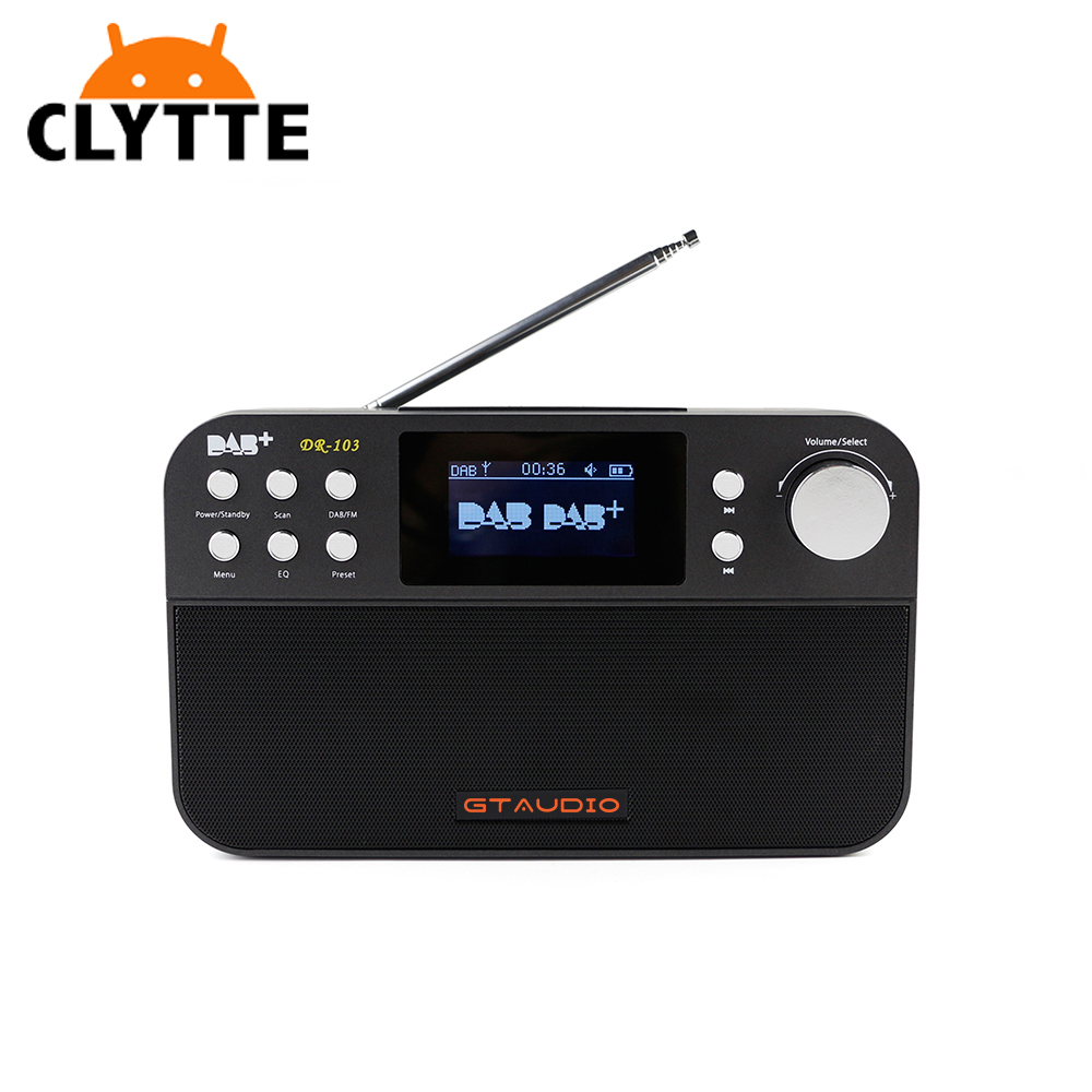 Clytte FREESAT DR-103 Portable Digital DAB+ / DVB / FM RDS radio Support Alarm Clock with 2.4 inch TFT Screen 2200mAh 18650 Batt