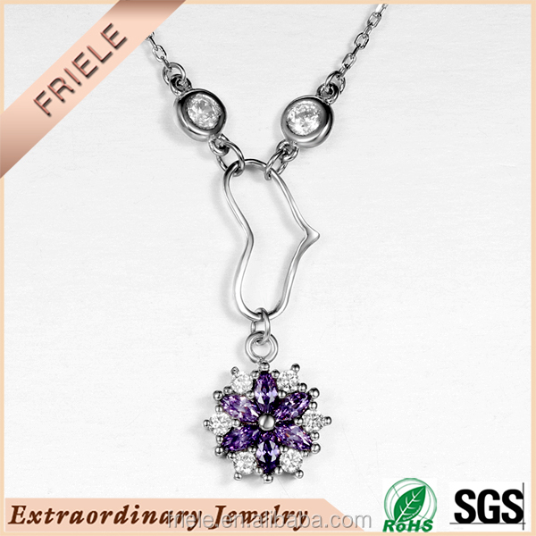 Wholesale Shiny flower neckalce 925 sterling silver with 18 inch chain