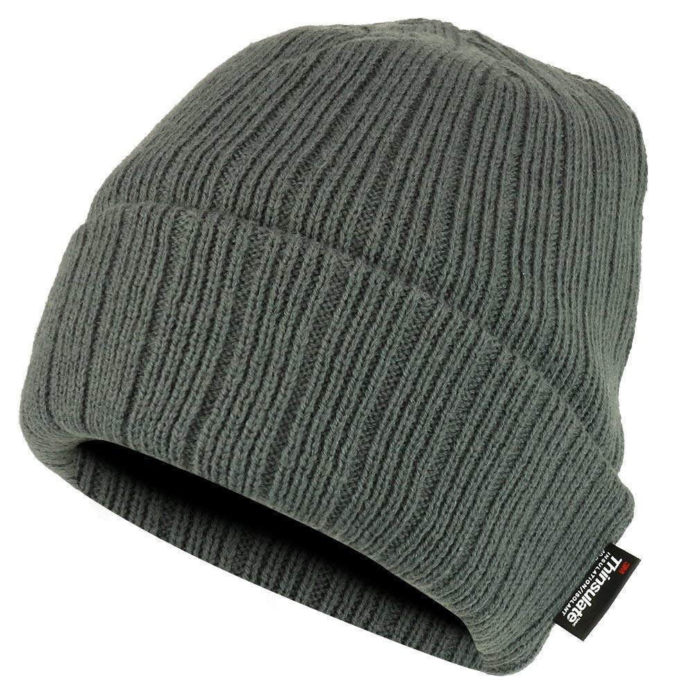 Get Quotations · Trendy Apparel Shop 3M OSFM Thinsulated Fleece Lined Long  Cuff Ribbed Beanie 4efa6ec06e3b