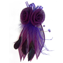 New arrival flower design mesh and feather brooch for women clothes decoration BK-BRZ041
