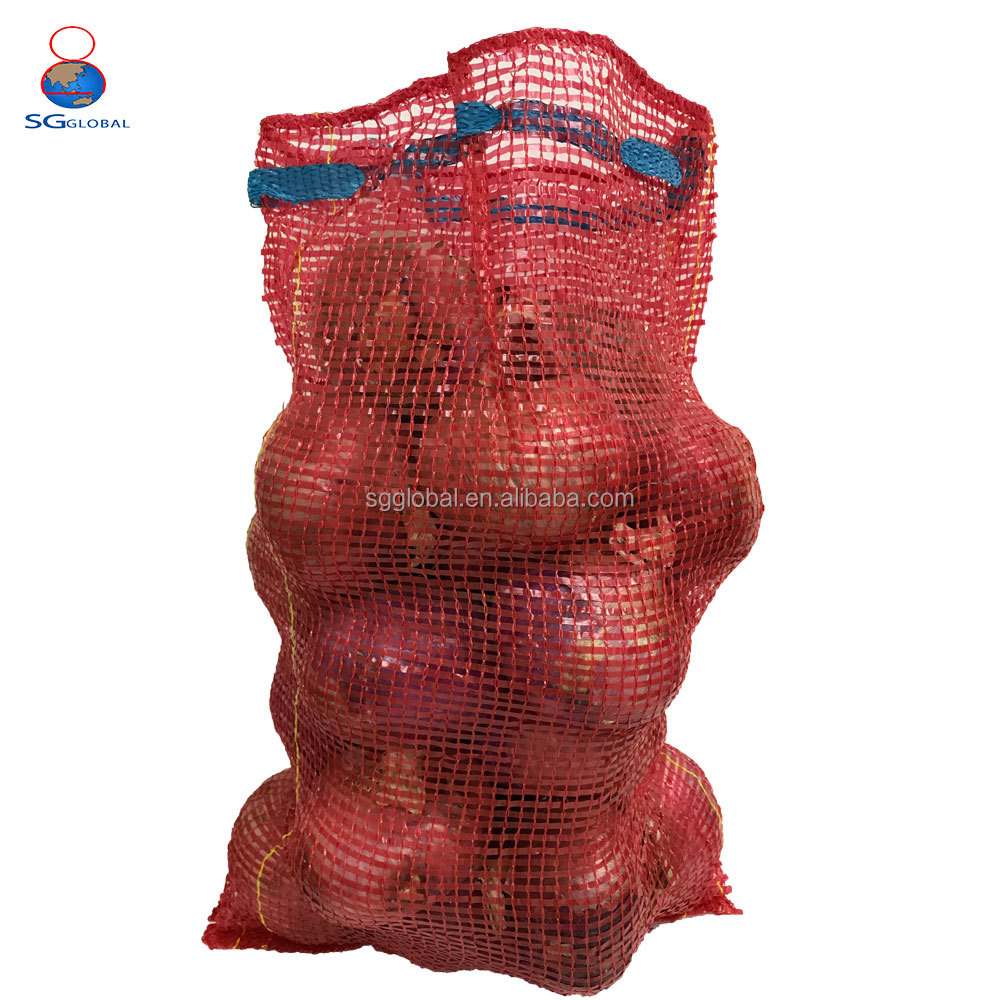 Wholesale plastic garlic onion vegetable mesh drawstring bag