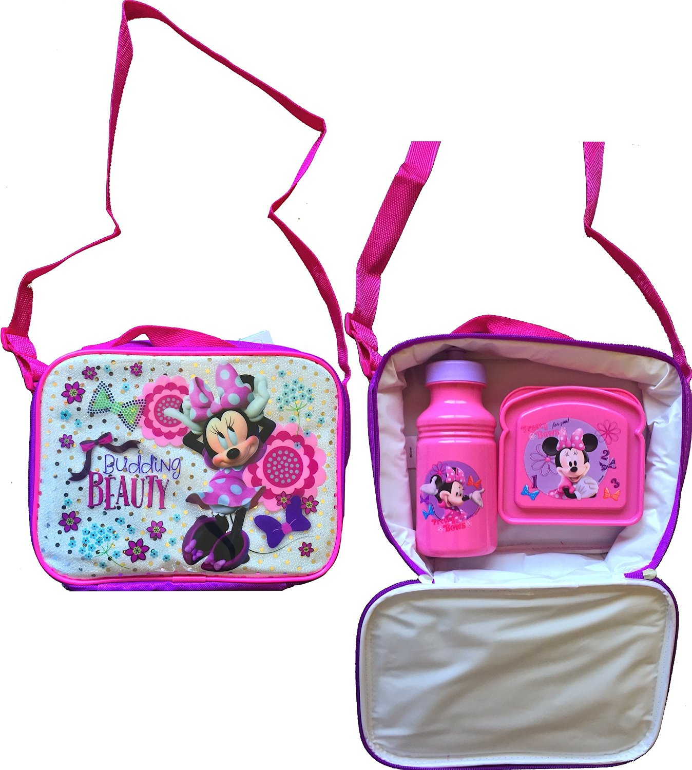 Disney Minnie Mouse Pink Adjustable Strap Minnie Mouse Carry Lunch Box with Minnie Mouse Pull-top Water Bottle and Minnie Mouse Lunch Sandwich Container
