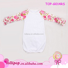 Infant Toddler Triple Ruffle Boutique Monogram Blanks Bambini Dormono Abito Floreale Manica Lunga Glassa Dell'increspatura Raglan Bambino Abito