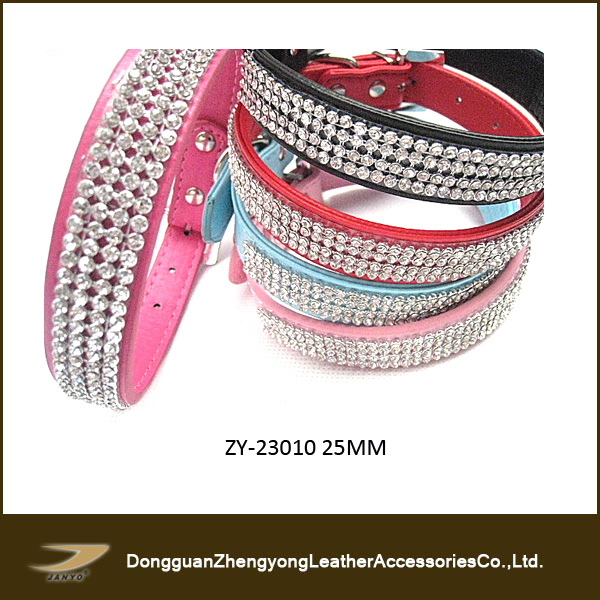 High quality pet collar with rhinestone,2014 genuine leather rhinestone pet collar