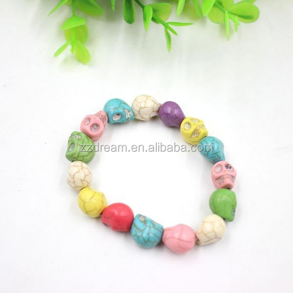 Colorful skull bracelet hot sale beautiful plastic beads bracelet jewelry