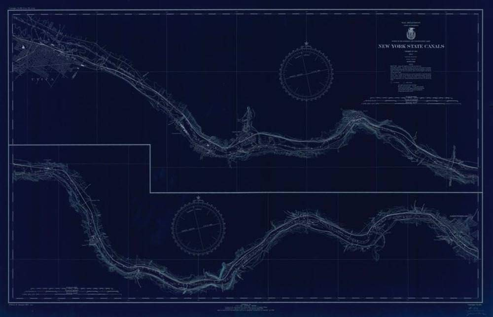 Vintography NOAA Blueprint Style 18 x 24 Nautical Chart New York State CANALS Lake Survey 46a