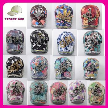custom sublimated printing baseball caps Rhinestone Crystal Sparkle Bling  Baseball Hat Cap 9f926e238756