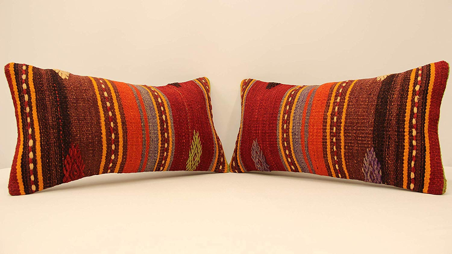 Buy Decorative Throw Pillow Muted Red Earth Tone Stripe