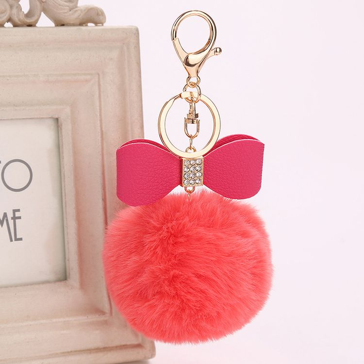 New Women Rabbit Fur Pom Pom Ball Bunny Blank Bowtie Keychain Handbag Bag Keyring