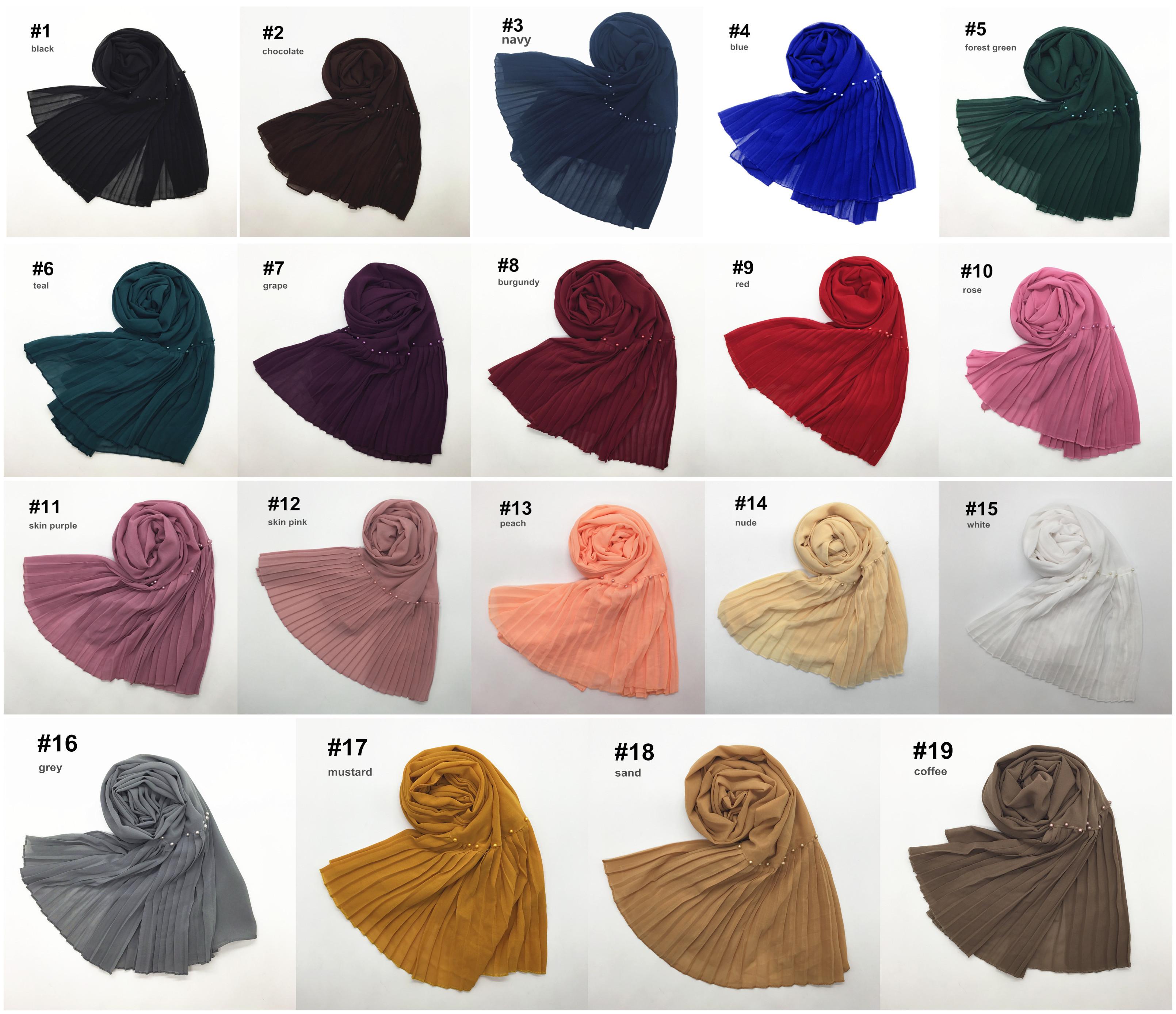 2020 müslüman arap boncuk başörtüsü başörtüsü kaliteli pilili şifon eşarp şal düz kırışıklık inci başörtüsü eşarp