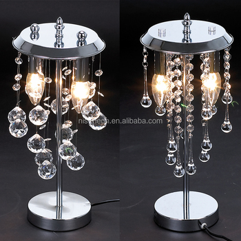 Modern Luxury Chrome Silver 1 Light Droplet Crystal Chandelier Bedside Table Lamp For Weddings Ns