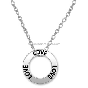 Love Words Ring Charm Metal Necklace Circle Name Jewelry Necklace