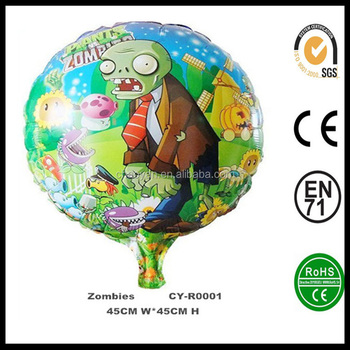 wholesale inflatable 18 round shaped plants vs zombies helium foil balloonsofia foil balloon