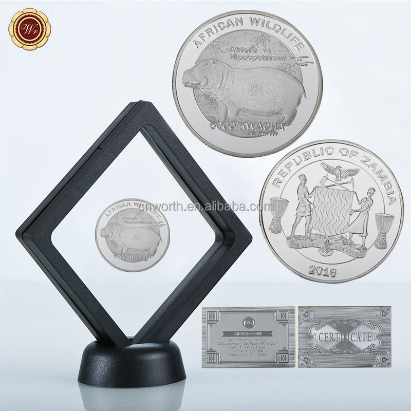 WR Metal Art Crafts Africa Wildlife Series 1 oz 999 24k Silver Plated Coin Home Decorative Hippo Challenge 5000 Kwacha 2016 Coin