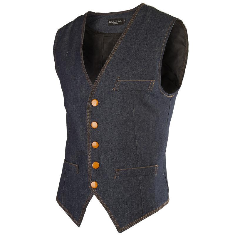 a0a120a3a9899 Get Quotations · 2015 New Arrival Men Vest Fashion Desian Mens Slim Fit Denim  Blue Waistcoat Casual Brand Single
