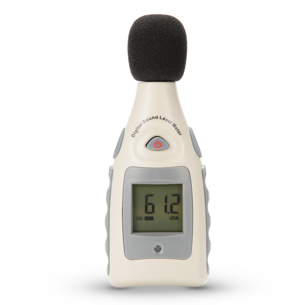 Sound Level Meter, Portable Digital Sound Level and Decibel Measuring Meter Tester 30 dBA-130dBA, Max/Min Hold, Hand-held LCD Backlight with Tripod Thread-One 9V Battery Included