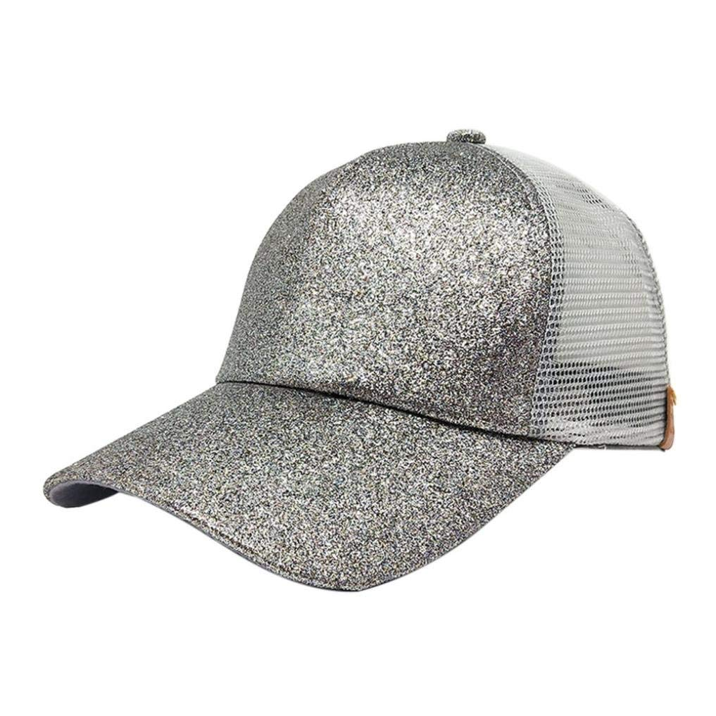 Get Quotations · Funic Clearance Sale 2018 Women Ponytail Baseball Cap  Sequins Shiny Messy Snapback Hat Sun Caps 7f920f67ae77
