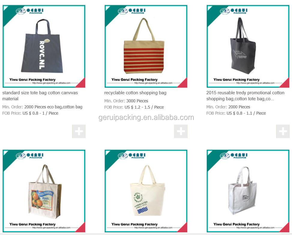 2015 new design fashionable canvas tote bag with rope handle