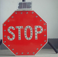 Easy use solar power rechargeable hand held flashing stop go led traffic sign