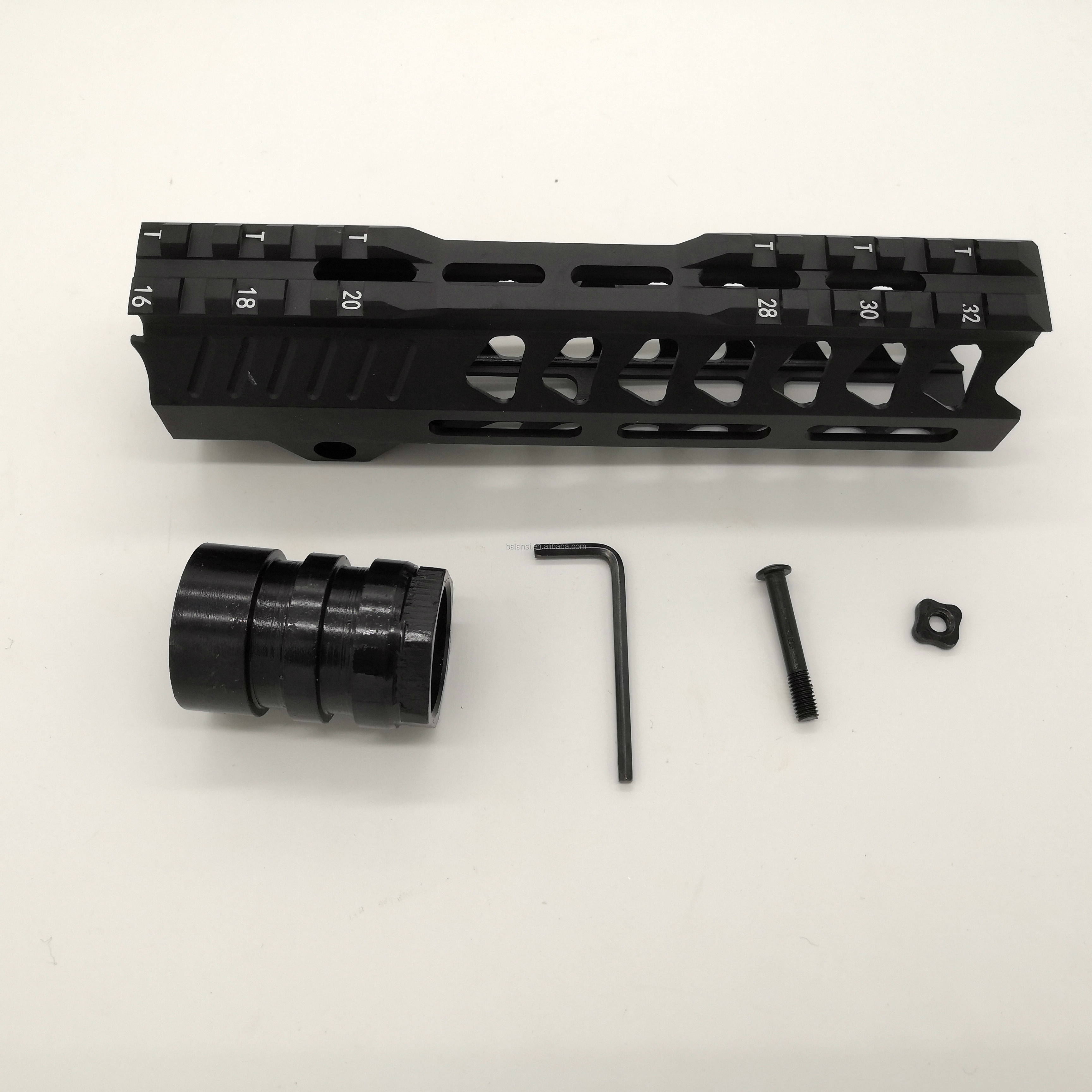 7 inch tactical ar15 .223 5.56 mlok handguard Free Float Super Slim ar 15 Handguard Quad Rail steel Nut for AR15 M4 M16, Black