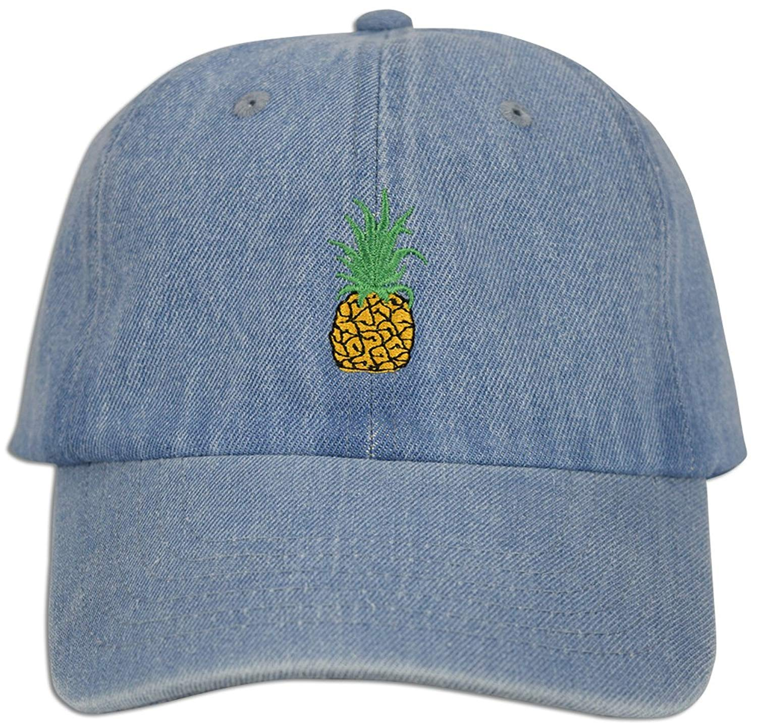 Pineapple Embroidery Dad Hat Baseball Cap Polo Style Unconstructed