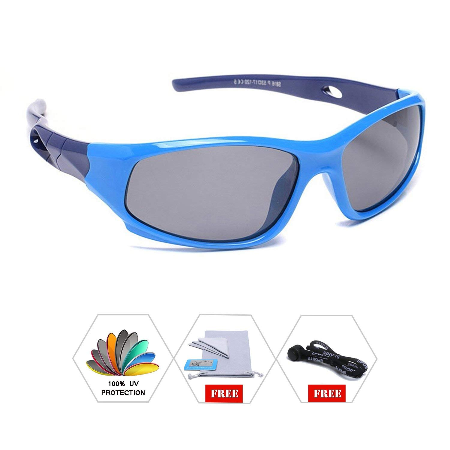 5a37239e7e Get Quotations · AODUOKE Sports Polarized Kids Sunglasses For Boys Girls  Children Mirrored Lens Sunglasses With Strap