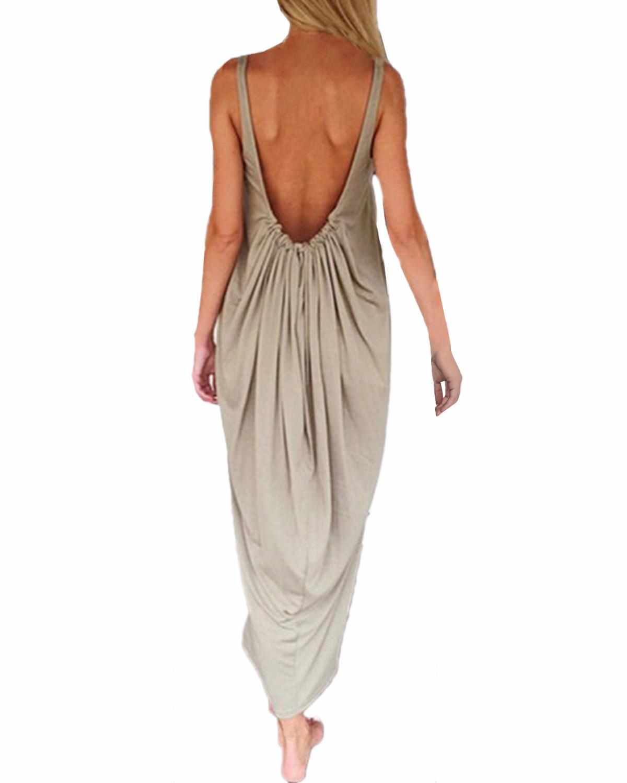 Zanzea Vestidos 2015 женская мода свободного покроя твердого вещества , платье без рукавов спинки длиной макси Boho пляж платья Большой размер XXS-3XL