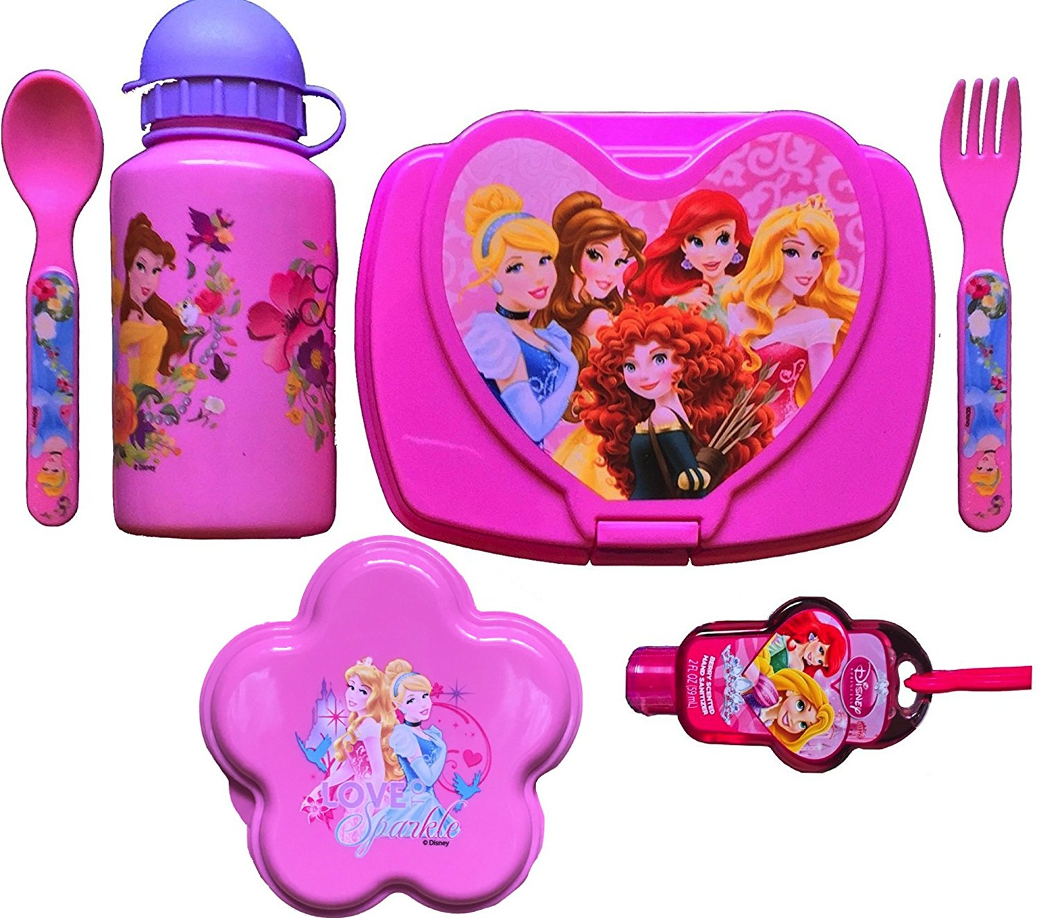 Disney Princesses 6 Piece Back to School Girls Lunch Kit Includes Princess Water Bottle , Princess Sandwich Container and Snack, Princess Flatware Set with Hand Sanitizer Back to School Lunch Specials