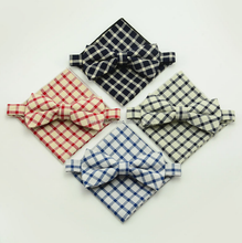 Fashion Black Red White Blue Plaids Bow tie Pocket Handkerchief for Gentleman