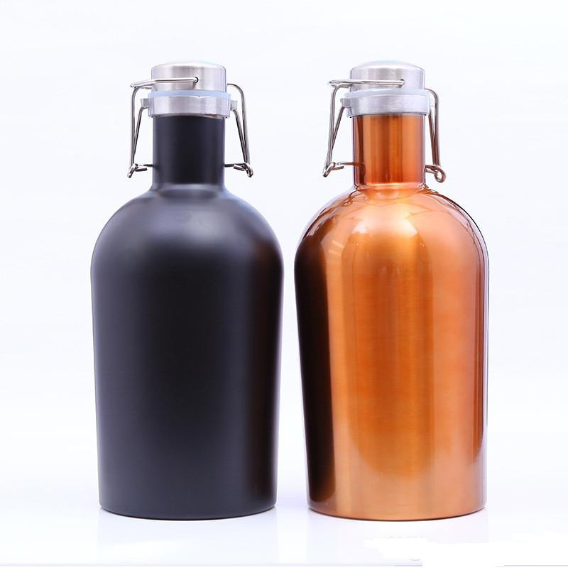 64oz High Quality Growler Portable Vacuum Flask Stainless Steel Double Wall Insulated Flask