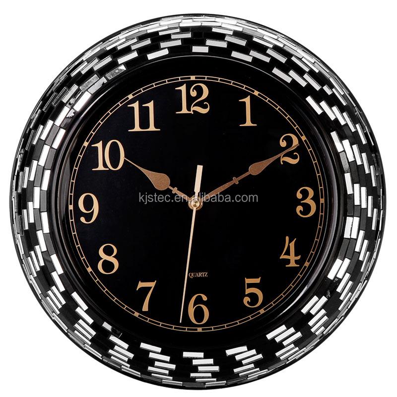 gran arte artesana de metal espejo mosaico blanco negro reloj de pared
