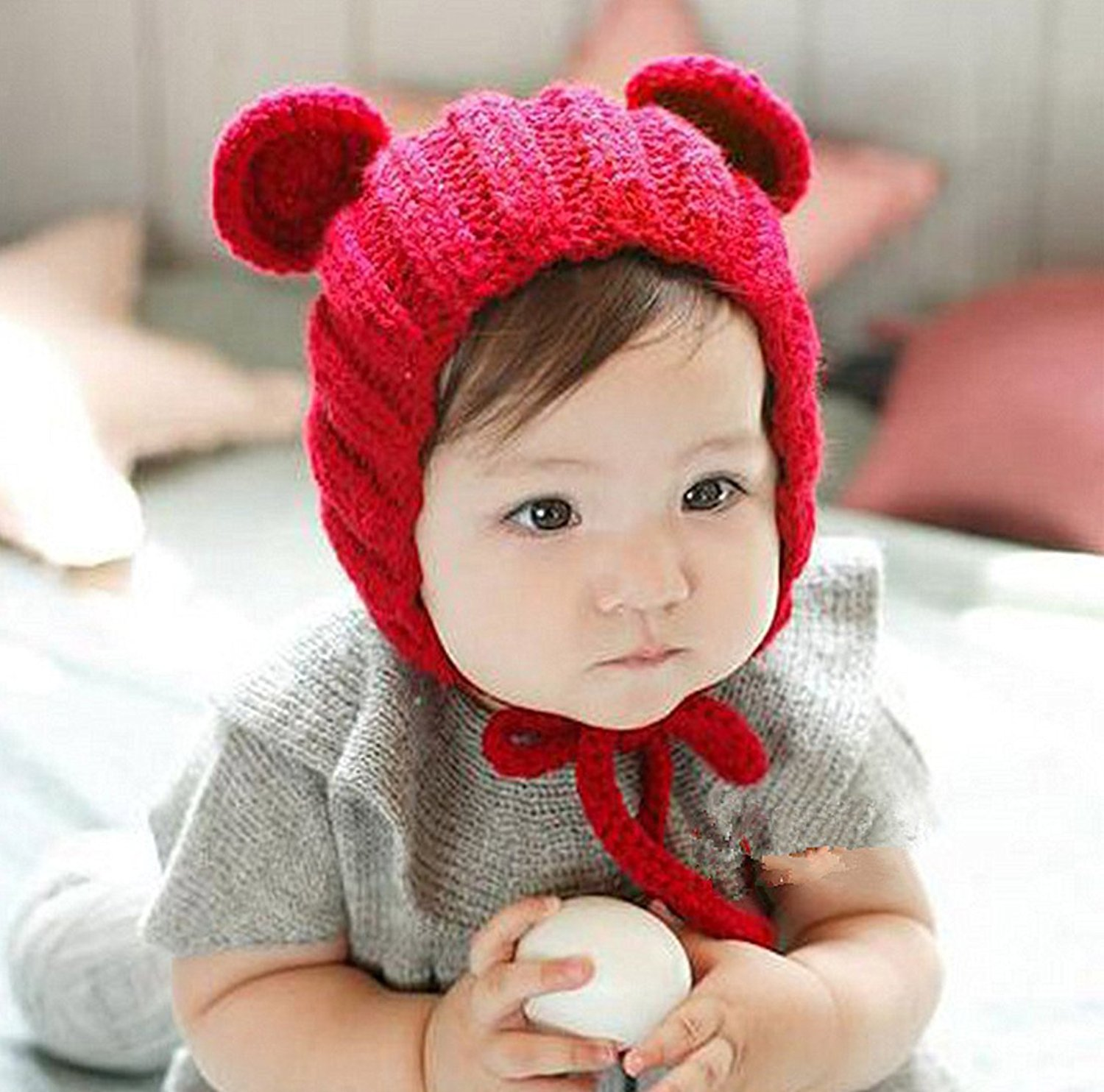 288f5f69611 Kids winter cute warm hats for christmas new year party. Get Quotations ·  Unisex-child winter hat Winzik Knitted cat ears hat for new year party