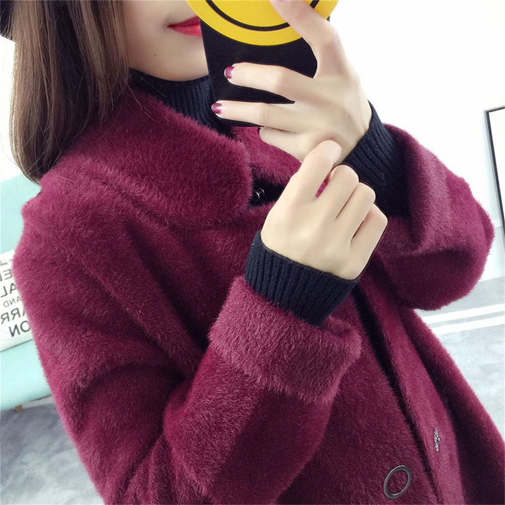 Lapel Shift Coat Latest Sweater Designs For Girls Imitated Mink Wool Long Cardigan