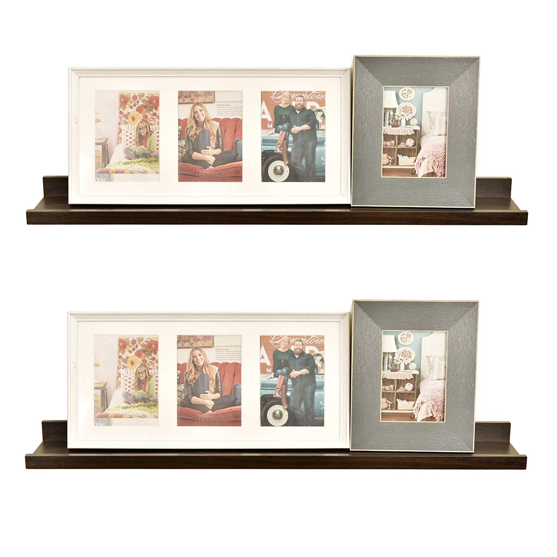 "WELLAND Set of 2 (6"" Depth) Picture Ledge, Photo Ledge Picture Ledge Shelf, 36""x6""x2"", Espresso"