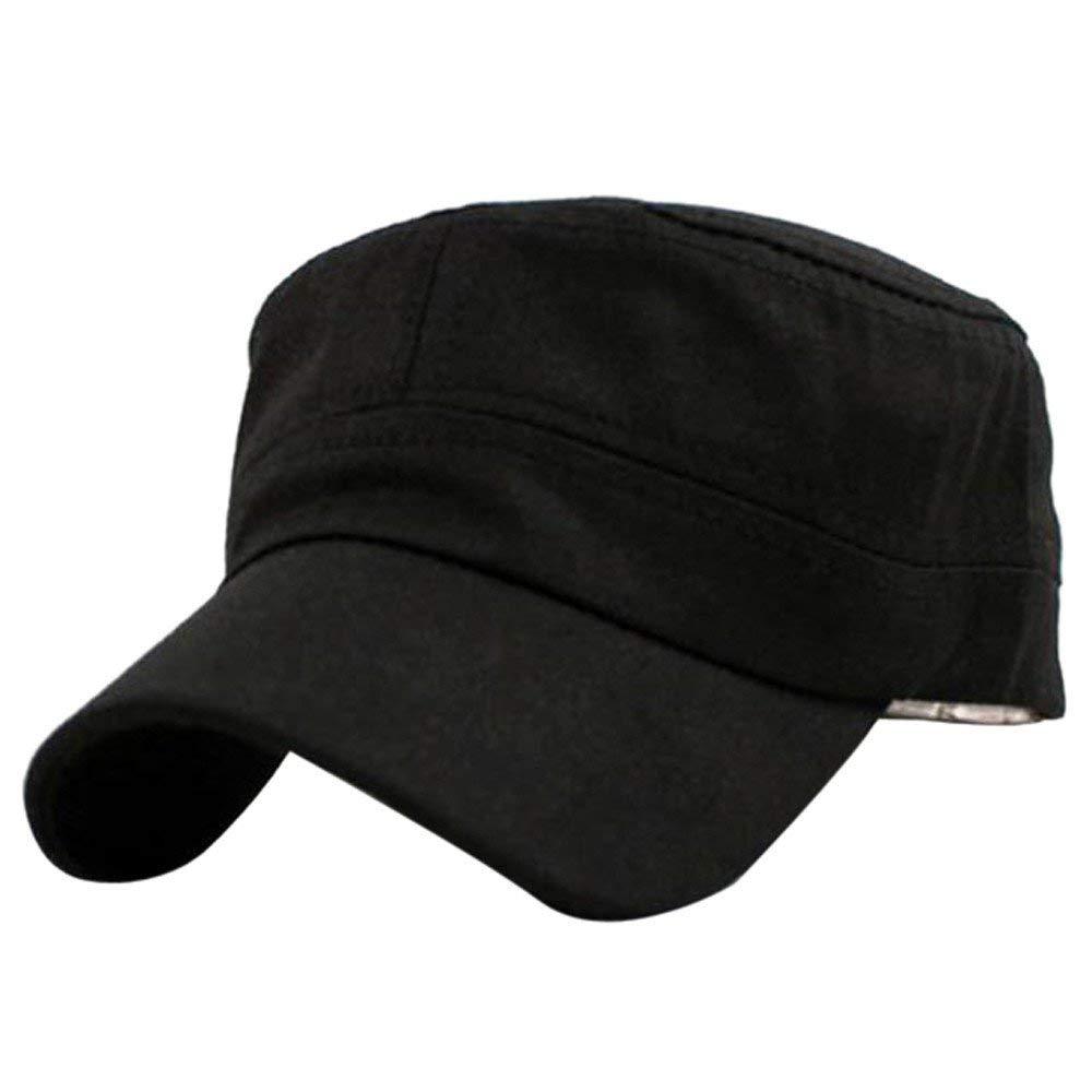 9204e398705 HANANei Clearance Sale Classic Plain Vintage Army Military Cadet Style Cotton  Cap Hat Adjustable (Black