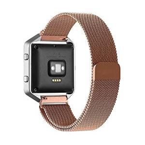 Fitbit Blaze Accessory Band Large (6.3-9.1 in),Oitom Milanese loop stailess steel Bracelet Strap for Fitbit Blaze Smart Fitness Watch, Black, Silver, Large with unique Magnet lock (Rose Gold)