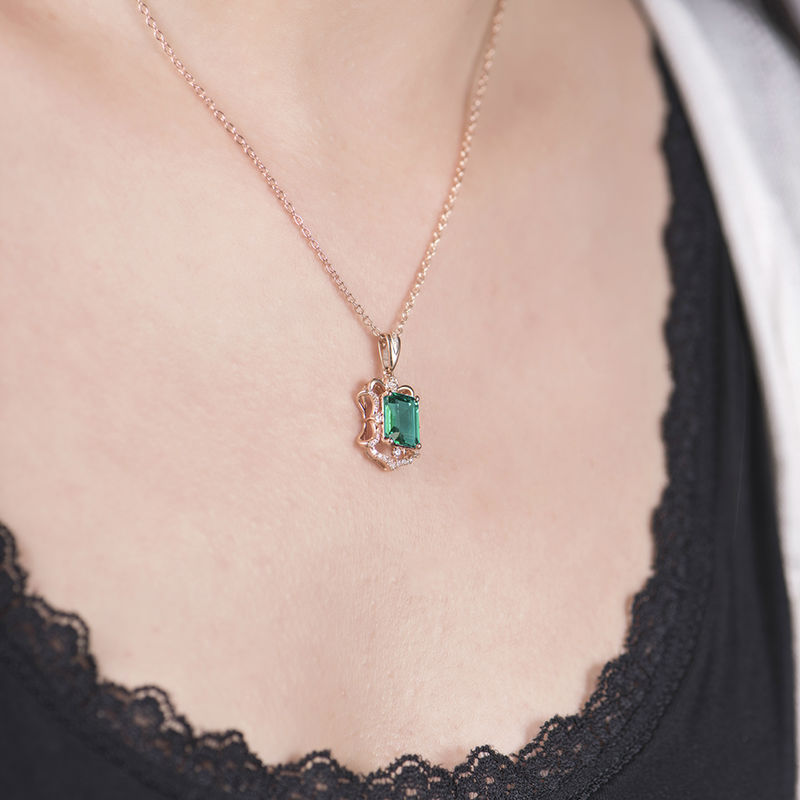 in penny jewelry emerald diamond cut necklace floating green pendant lyst preville