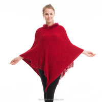 wholesale lady fashion cashmere rabbit fur collar poncho red sweater with fringe