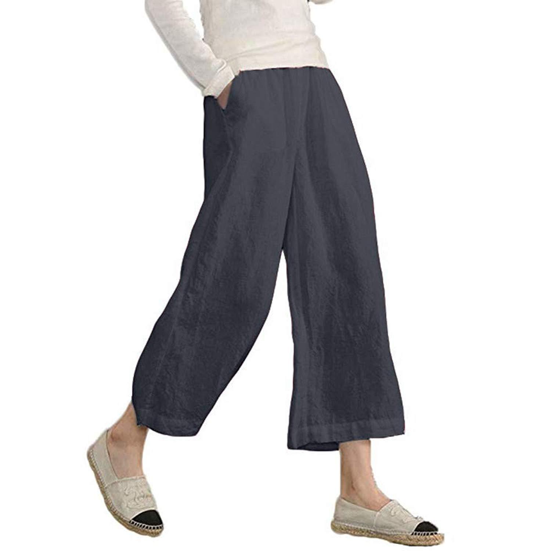 OCASHI Women's Elastic Waist Causal Loose Trousers Plus Size Linen Cropped Wide Leg Pants