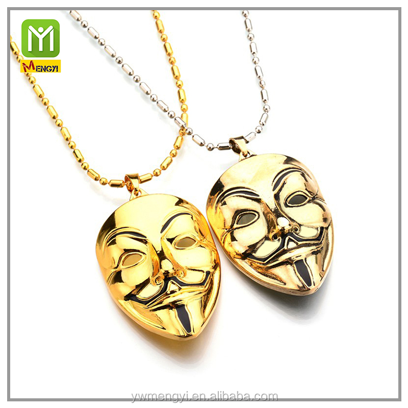 20 grams gold jewelry necklace V word Kill Team Black River Mask Alloy Necklace men