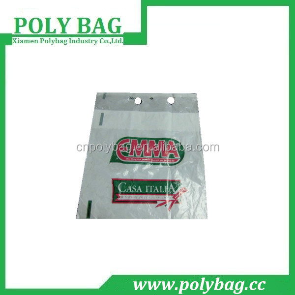 pe printed packaging poly bag with wicket with printed logo