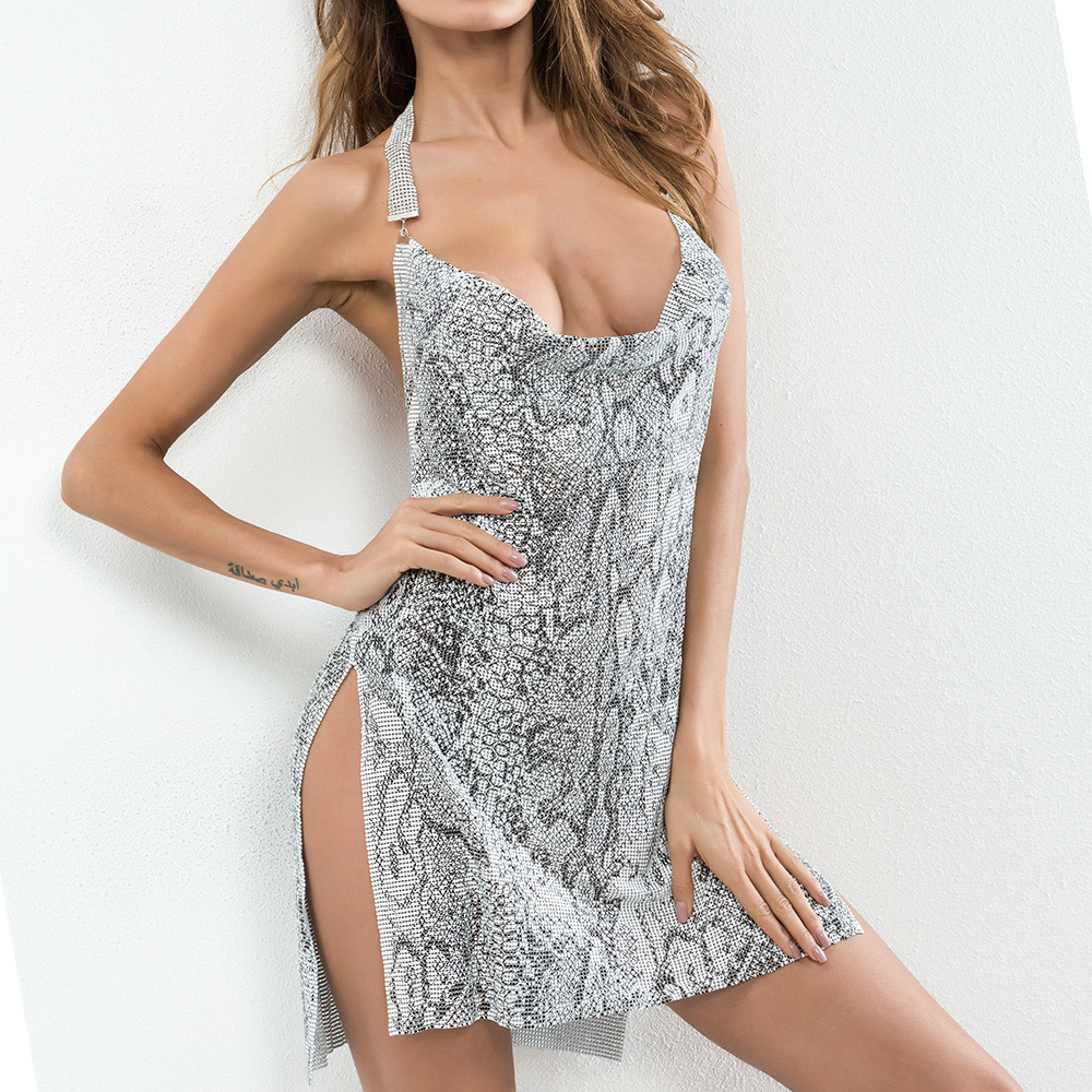 Hallow Out Sexy Sequined Disco Club Party Women Silver Backless Diamond Halter Chainmail Snake Prints Metal Mesh Halter Dress фото
