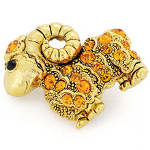 P168-627 fashion garment accessories jewelry antique gold stone sheep brooch