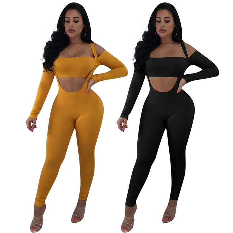 Trade Assurance Sexy Fashion Womens Backless Crop Top Pencil Pants Two Piece Yoga Set Womens Clothing Long Jumpsuit Women фото
