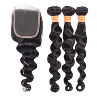 Aliexpress Hot Sell 1b# Loose Deep Wave 100% Natural Raw Indian Remy Human Hair