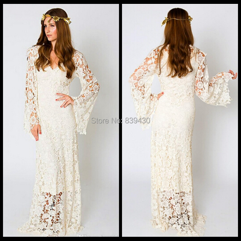 b6ac28ad028 Bohemian Bell Sleeve Wedding Dress - Women s Dresses