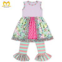 China Kids Girl Casual Wholesale Children Girls Summer Boutique Stitching Striped Clothing Set