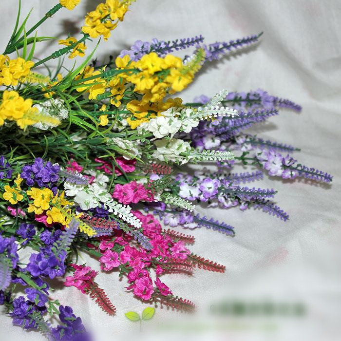 Artificial Lavender Spring artificial flowers home decoration plastic and silk flowers flowers mix color 15pcs/lot